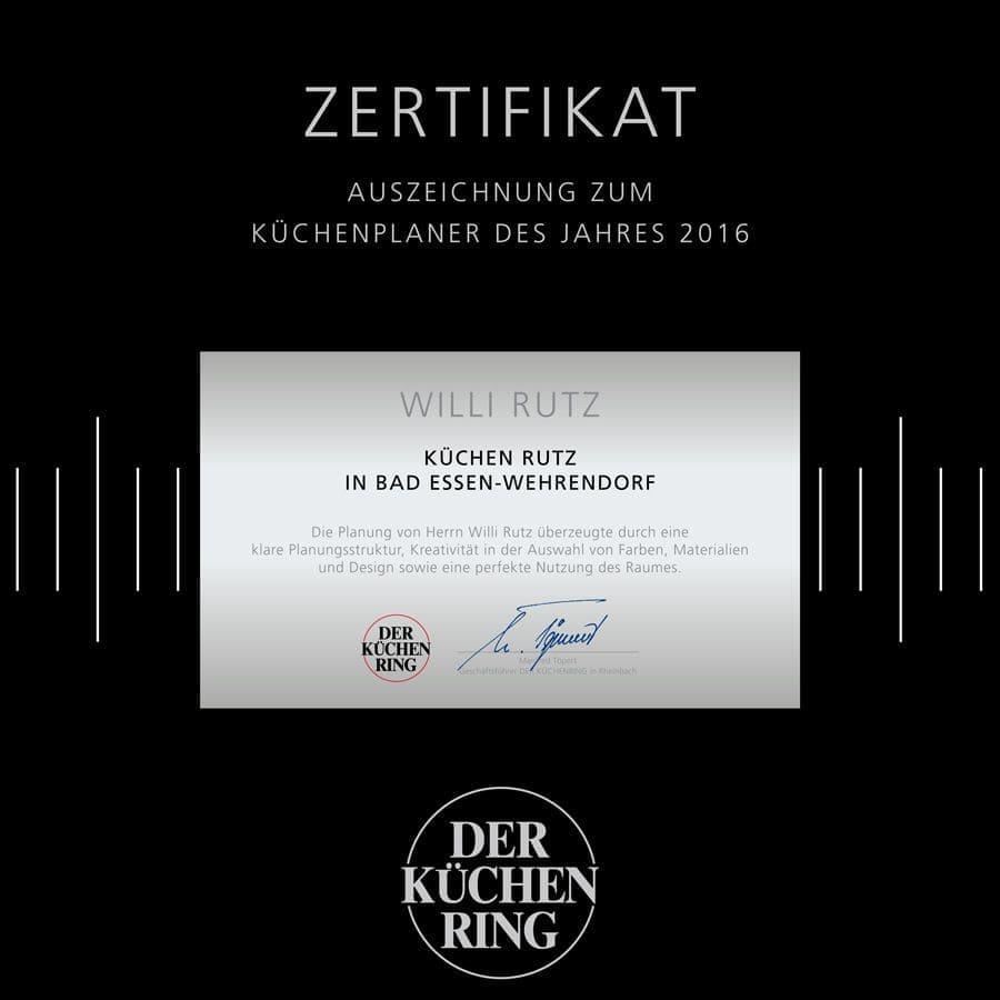 Zertifikat - KÜCHENPLANER DES JAHRES 2016